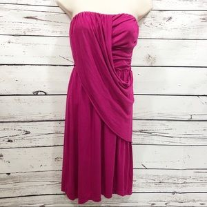 Splendid Strapless Draped Cotton Dress: Magenta